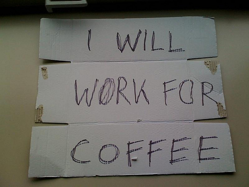 Schild: Work for Coffee