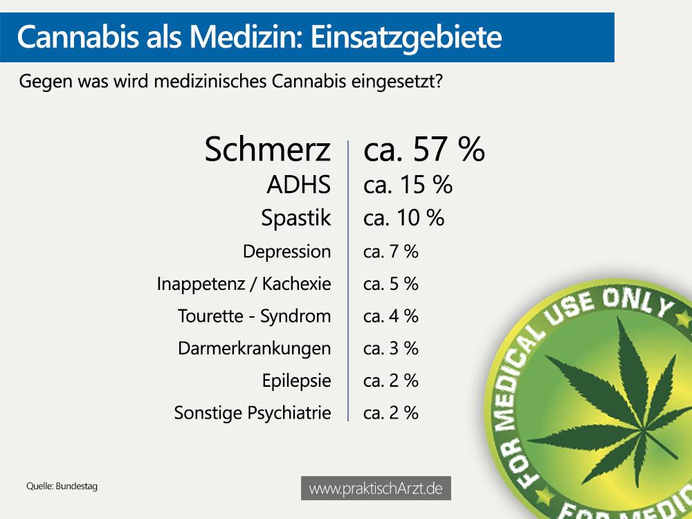 Infografik Cannabis Einsatzgebiete PraktischArzt