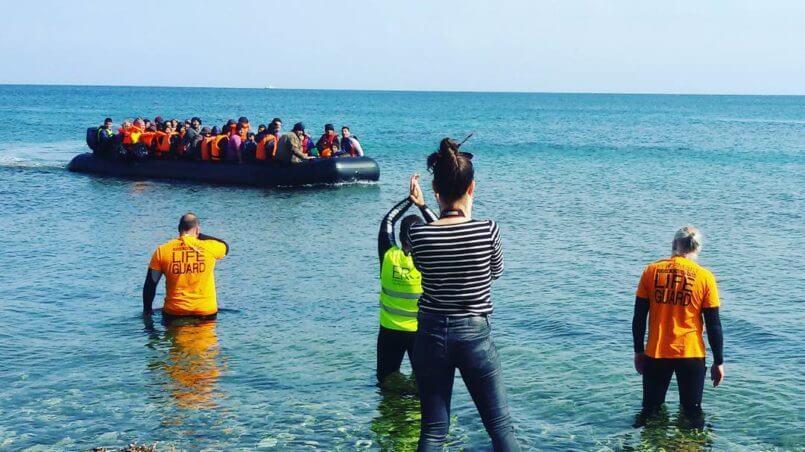 Flüchtlingsboot Und Rettungsboot, Küstenwache, Lesbos 2