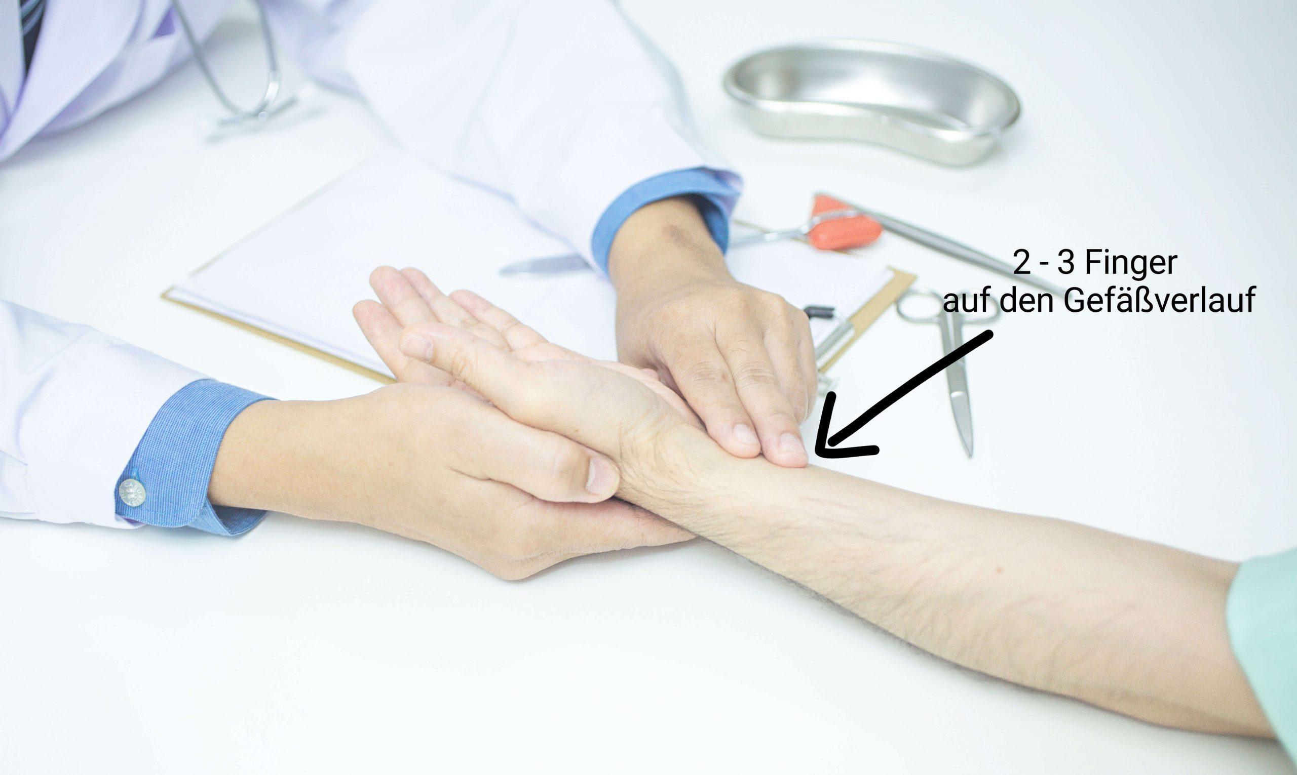 Pulsmessung Fingersetzen